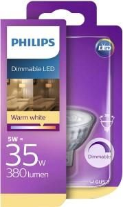 PHILLIPS DIMBAAR LED GU5 SPOT WARM WHITE 5W ENERGIE ZUINIG A+